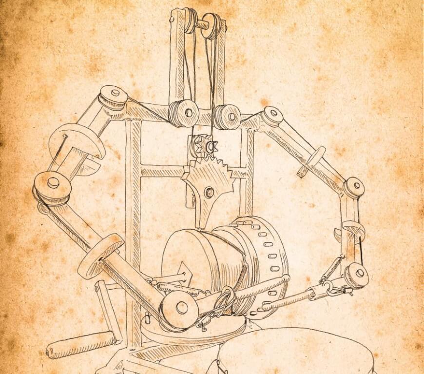 leonardo da vinci humanoid robot drawing
