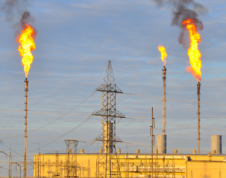flaring at oil and gas refinery